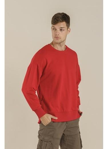 Oksit Crash Cegg Fermuar Detaylı Oversize Sweatshirt Kırmızı